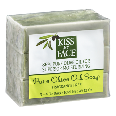 Kiss My Face 86% Pure Olive Oil Soap Fragrance Free - 3 CT