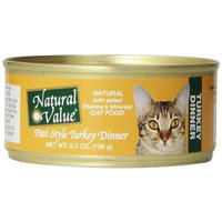 Natural Value Pate Style Turkey Dinner Cat Food, 5.5 Ounce Cans (Pack of 24)