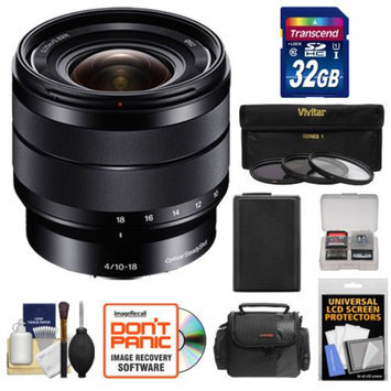 Sony Alpha E-Mount 10-18mm f/4.0 OSS Wide-angle Zoom Lens with 32GB Card + Battery + Case + 3 Filters + Kit for A7, A7R, A7S, A3000, A5000, A5100, A6000 Cameras