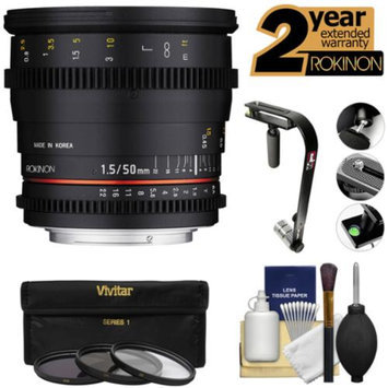 Rokinon 50mm T/1.5 DS Cine Lens (for Video DSLR Sony Alpha E-Mount Cameras) with Steadycam + 2 Year Ext. Warranty + 3 Filters + Accessory Kit