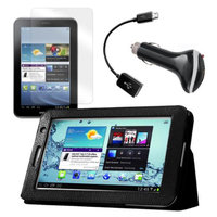 Black Folio Case with Screen Protector, OTG Cable, and Car Charger for Samsung Galaxy Tab 2 7