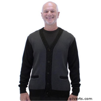 Silvert's Silverts 503100202 Handsome Quality Cardigan Sweater with Pockets for Men Black & Grey - Medium