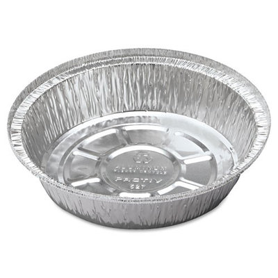 Pactiv Corporation Pactiv Hemmed-Edge Food Containers, Aluminum, 7-inch diameter x 1-3/4