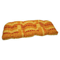 Pillow Perfect Outdoor Wicker Loveseat Cushion - Yellow/Orange Grillin