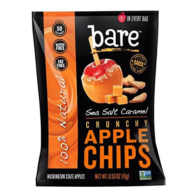 Bare Fruit Bare Natural Sea Salt Caramel Apple Chips, Gluten-Free + Baked, 24 Count