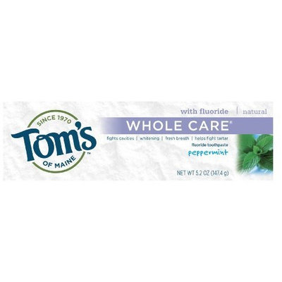 Toms Of Maine Tom's of Maine Natural Whole Care Anticavity & Tartar Control Plus Whitening Fluoride Toothpaste, Peppermint, 5.2-Ounce Tubes (Pack of 6)