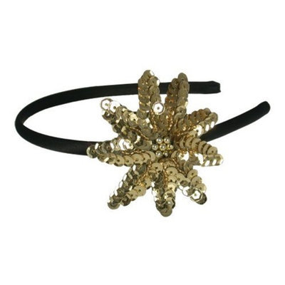 Smoothies Sequins Flower Thin Headband-Gold 01596