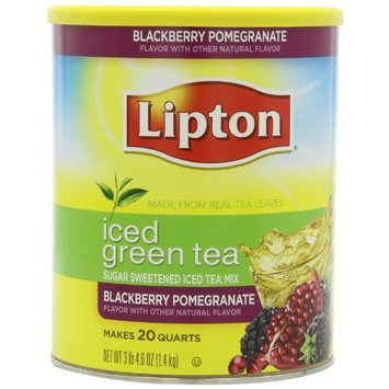 Lipton Iced Green Tea, Sugar Sweetened Iced Tea Mix, Blackberry Pomegranate, 52.6Ounce Packages (Pack of 2)