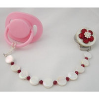 Crystal Dream Baby Red Mother of Pearl Pacifier Clip