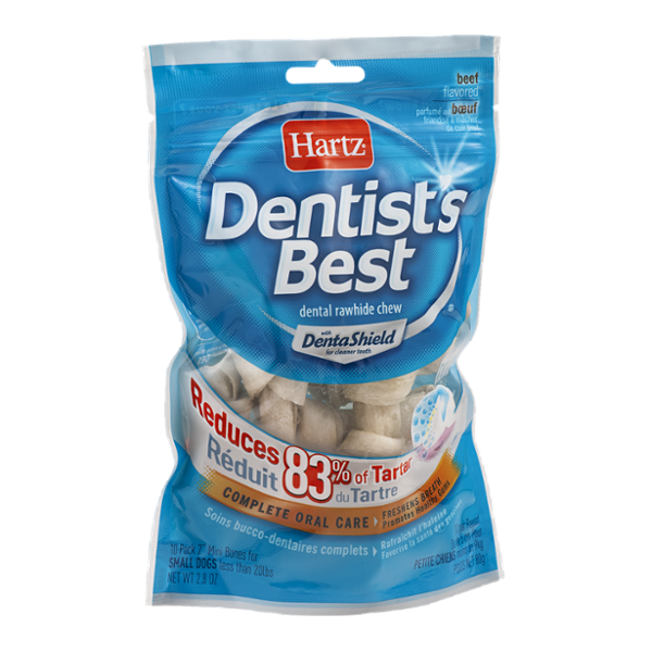 Hartz Dentist's Best Dental Rawhide Chew With Denta Shield Beef Flavored Small Dogs- 10 CT