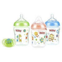 Nuby Nûby Natural Touch 3pk 9oz Printed Bottle with Comfort Pacifier - 0-6