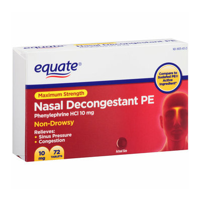 Equate Maximum Strength Non-Drowsy Nasal Decongestant PE Tablets