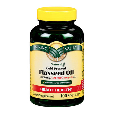 Spring Valley Organic Flaxseed 100Ct  Dietary Supplement Flaxseed Oil 100