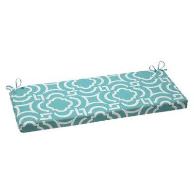 Pillow Perfect Outdoor Wicker Bench Set - Blue Green/White Carmody