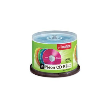 Imation 15808 CD-R Discs, 700MB-80min, 40x, Spindle, Assorted Neon, 50-Pack
