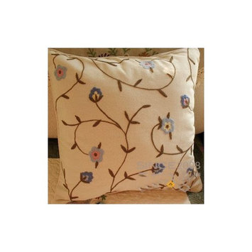 Victoria's deco Woollen Embroided Blue Flowers vine Cushion Cover/Pillow