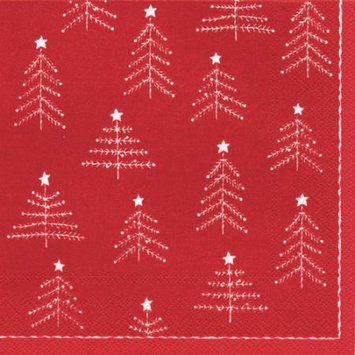 Ideal Home Range 4 Packs Paper Lunch Napkins Little Xmas Trees Rd Wht