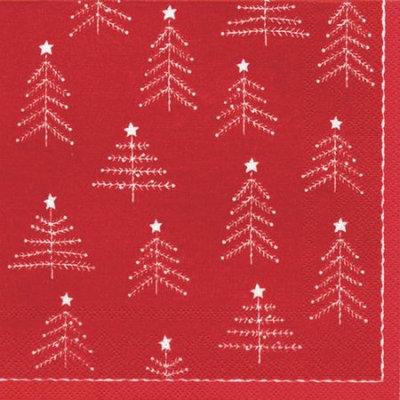 Ideal Home Range 4 Packs Paper Lunch Napkins Little Xmas Trees Rd Wht