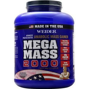Weider Mega Mass 2000 Anabolic Mass Gainer Delicious Strawberry 8.6 lb