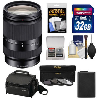 Sony Alpha E-Mount E 18-200mm f/3.5-6.3 LE OSS Zoom Lens with Sony Case + 32GB Card + 3 Filters + NP-FW50 Battery Kit for A7, A7R, A7S, A3000, A5000, A5100, A6000 Cameras