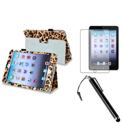 Insten iPad Mini 3/2/1 Case, by INSTEN Brown Leopard Leather Case Cover+AG Protector/Pen for iPad Mini 3 2 1