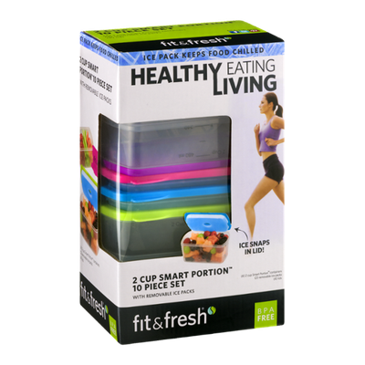 Fit & Fresh 2 Cup Smart Portion 10 Piece Set With Removable Ice Packs - 10 CT