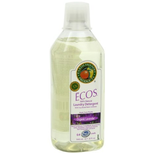Earth Friendly Products ECOS 3x Lavender Liquid Laundry Detergent with Built-In Fabric Softener, Lavender, 32-Ounce Bottles (Pack of 6)
