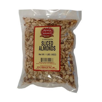 Spicy World Natural Raw Sliced Almonds - 1 Pound Bag - Fresh!
