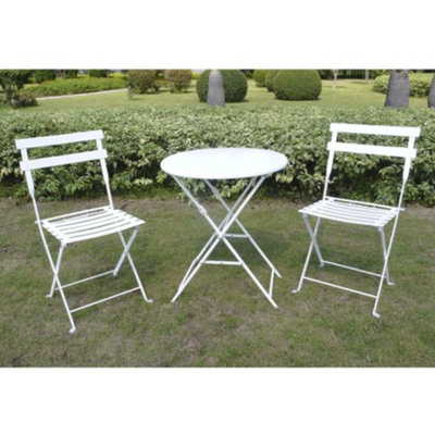 Shin Crest White 3-Piece Folding Metal Bistro Furniture Set