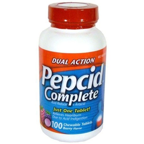 Pepcid Complete Dual Action Acid Reducer and Antacid Berry Flavored Chewable Tablets 100 Count Bottle