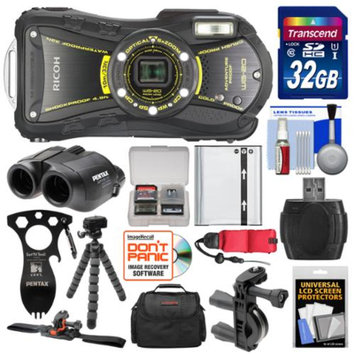 Ricoh WG-20 Shock & Waterproof Digital Camera, 8x22 Jupiter III+ Binoculars & Eat'n Tool Adventure Kit with 32GB Card + Case + Battery + Tripod + ATV/Bike Bracket & Mount Kit