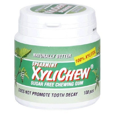 Naturally Better Spearmint Xylichew, Sugar Free Chewing Gum, 100-Piece Canisters (Pack of 2)