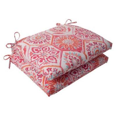 Pillow Perfect Outdoor 2-Piece Square Seat Cushion Set - Pink/Orange Medallion