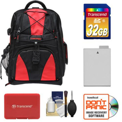 Precision Design Multi-Use Laptop/Tablet Digital SLR Camera Backpack Case (Black/Red) with 32GB Card + LP-E8 Battery + Accessory Kit for Canon Rebel T3i & T4i