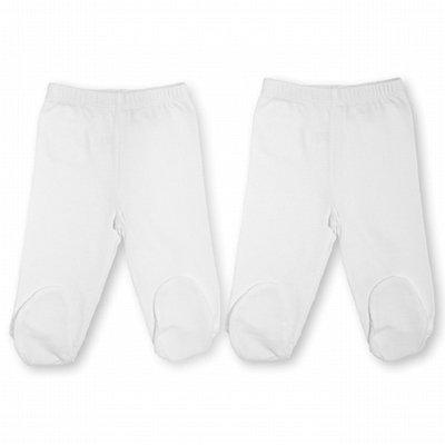 Burt's Bees Baby 2-Pack Organic Footed Pant with Elastic, Cloud/White, 3-6 Months, 1 ea