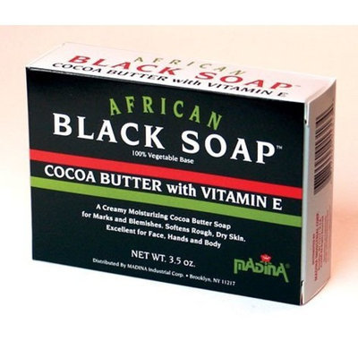 Halal Everyday Madina African Black Soap Cocoa Butter W/Vitamin E 3.5 oz