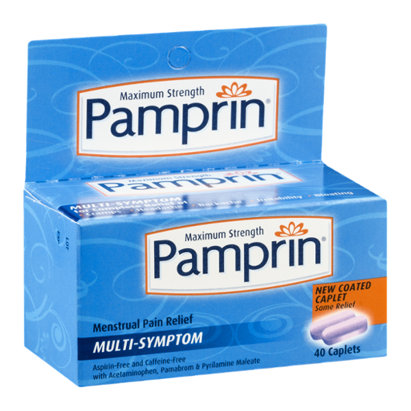 Pamprin Maximum Strength Multi-Symptom Menstrual Pain Relief Caplets - 40 CT