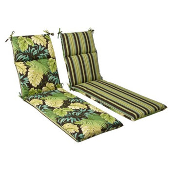 Pillow Perfect Outdoor Reversible Chaise Lounge Cushion - Brown/Green Floral/Stripe