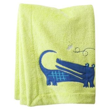 Zutano Blue ZUTANOBLUE Alligators Embroidered Boa Blanket