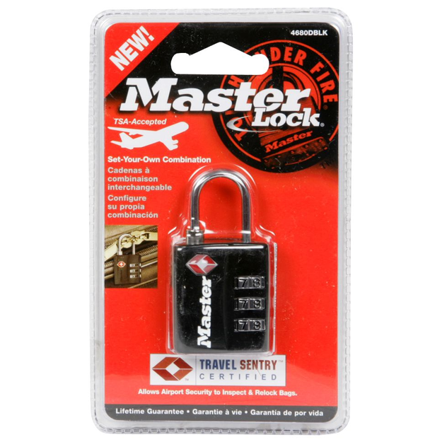 Master Lock 4680DBLK TSA-Accepted Luggage Padlock, Black