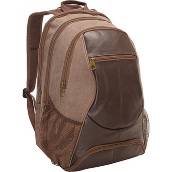 R & R Collections Leather & Canvas Laptop Backpack With Shoe Compartment