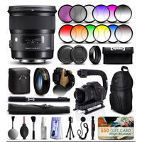 47th Street Photo Sigma 24mm F1.4 DG HSM Art Lens for Canon (401101) + 12 Piece Filter Set + 10x Macro Diopter + Stabilizer Handle + Sling Backpack + 67 Monopod + Deluxe Cleaning Kit + Air Dust Blower + $50 Prints Gift Card + More