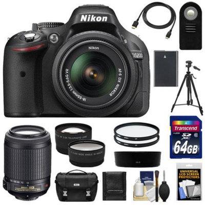 Nikon D5200 Digital SLR Camera & 18-55mm G VR DX AF-S Zoom Lens (Black) with 55-200mm VR Lens + 64GB Card + Battery + Case + Tripod + Tele/Wide Lenses + Remote + Accessory Kit