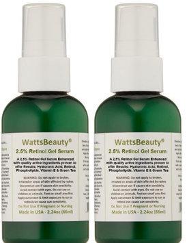 Watts Beauty Antiaging 2.5% Retinol Gel Serum Enhanced 2.24 oz - Pack of 2