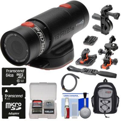 Replay XD Prime X Waterproof Wi-Fi HD Action Video Camera Camcorder with 64GB Card + 2 Helmet, Flat Surface & Bike Handlebar Mounts + Backpack + Kit