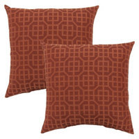 Threshold 2-Piece Square Outdoor Toss Pillow Set - Orange Lattice