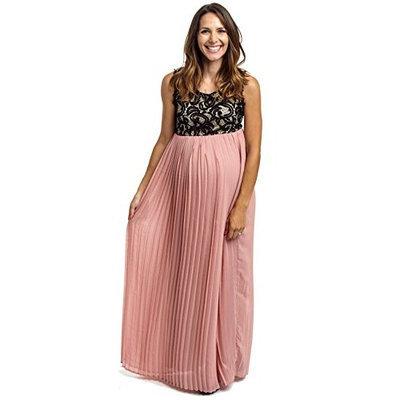 PinkBlush Maternity Dusty Pink Pleated Chiffon Lace Top Maternity Maxi Dress, S