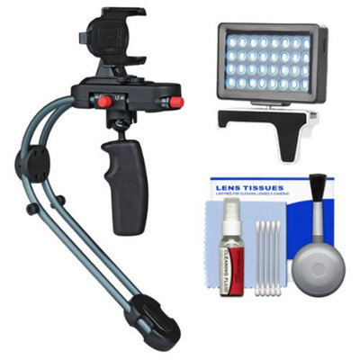 Steadicam Smoothee Video Stabilizer for iPhone 5/5s, GoPro Hero & other Action Cameras with LED Light + Accessory Kit