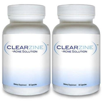 Best Acne Treatment Pills: CLEARZINE (2 Bottles) - All Natural Acne Cure Supplement Clear Skin Care