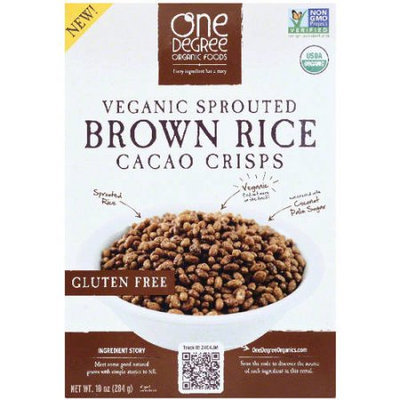 One Degree Organic Foods Veganic Sprouted Brown Rice Cacao Crisps Cereal, 10 oz, (Pack of 12)